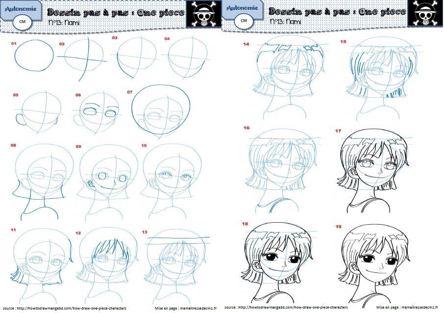 Pour dessiner les personnages de one piece autonomie cycle3 pinterest les personnages - Dessiner personnage manga ...