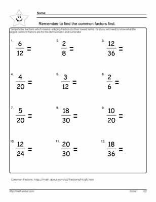 math worksheet : 9 worksheets on simplifying fractions for 6th graders  equivalent  : 6th Grade Math Worksheet