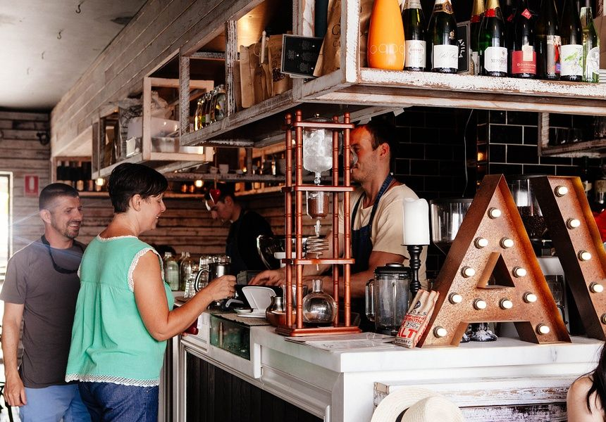 AVILA- French Crepe Bar. White Wash timber, Distressed Mirrors, Recycled Timber, Cafe Design, Bar Design