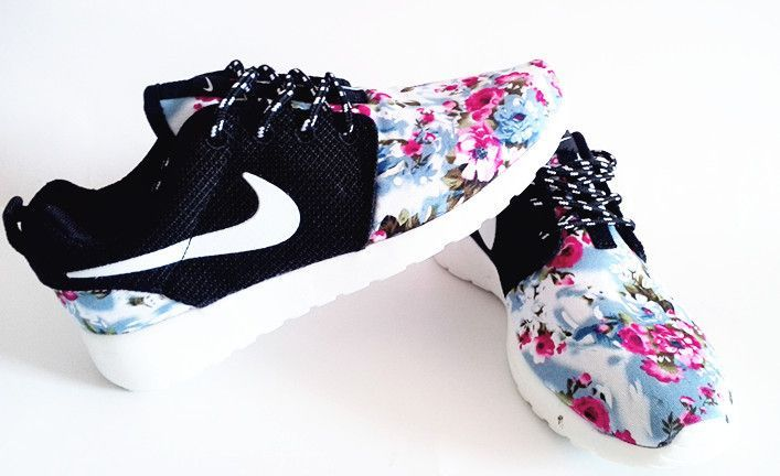 in stock f90cf 19518 ... Half off Shoes Floral Pattern Nike Unisex Roshe Run Supremo Customs  Fireberry Rose Blue Black. ...