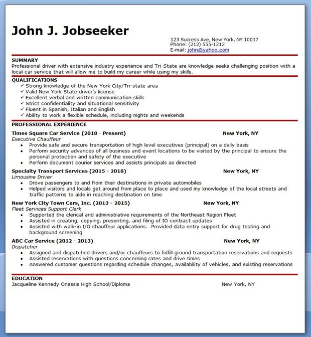 Chauffeur Driver Resume Sample Creative Resume Design Templates - monster resume search