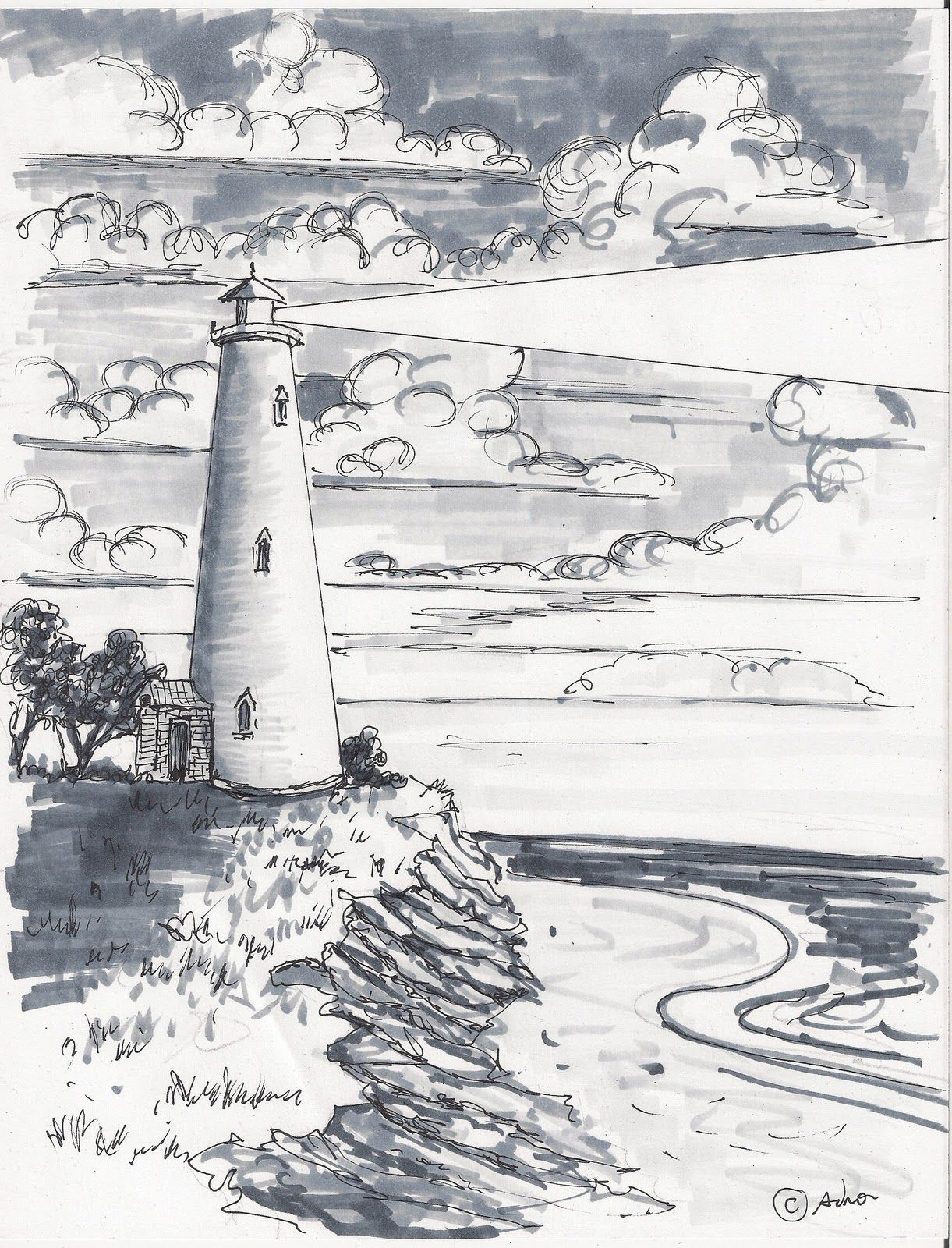 How to draw worksheets for the young artist how to draw a lighthouse landscape