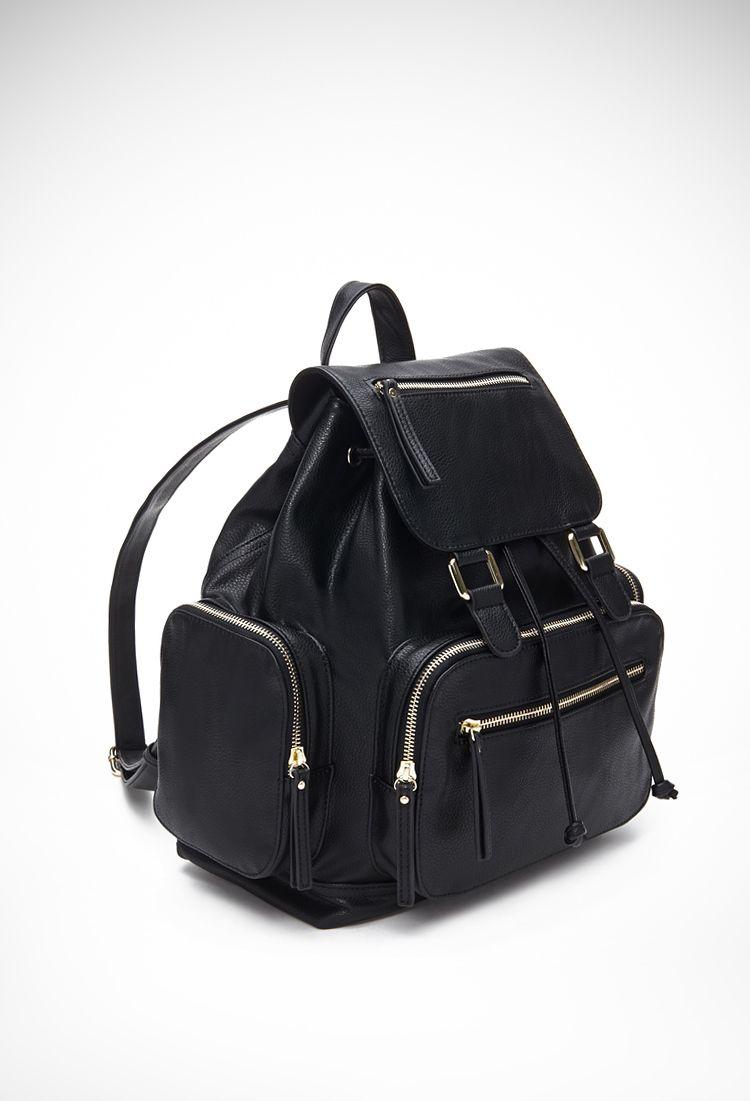 Pocket Faux Leather Backpack   Forever 21 - 1000078759