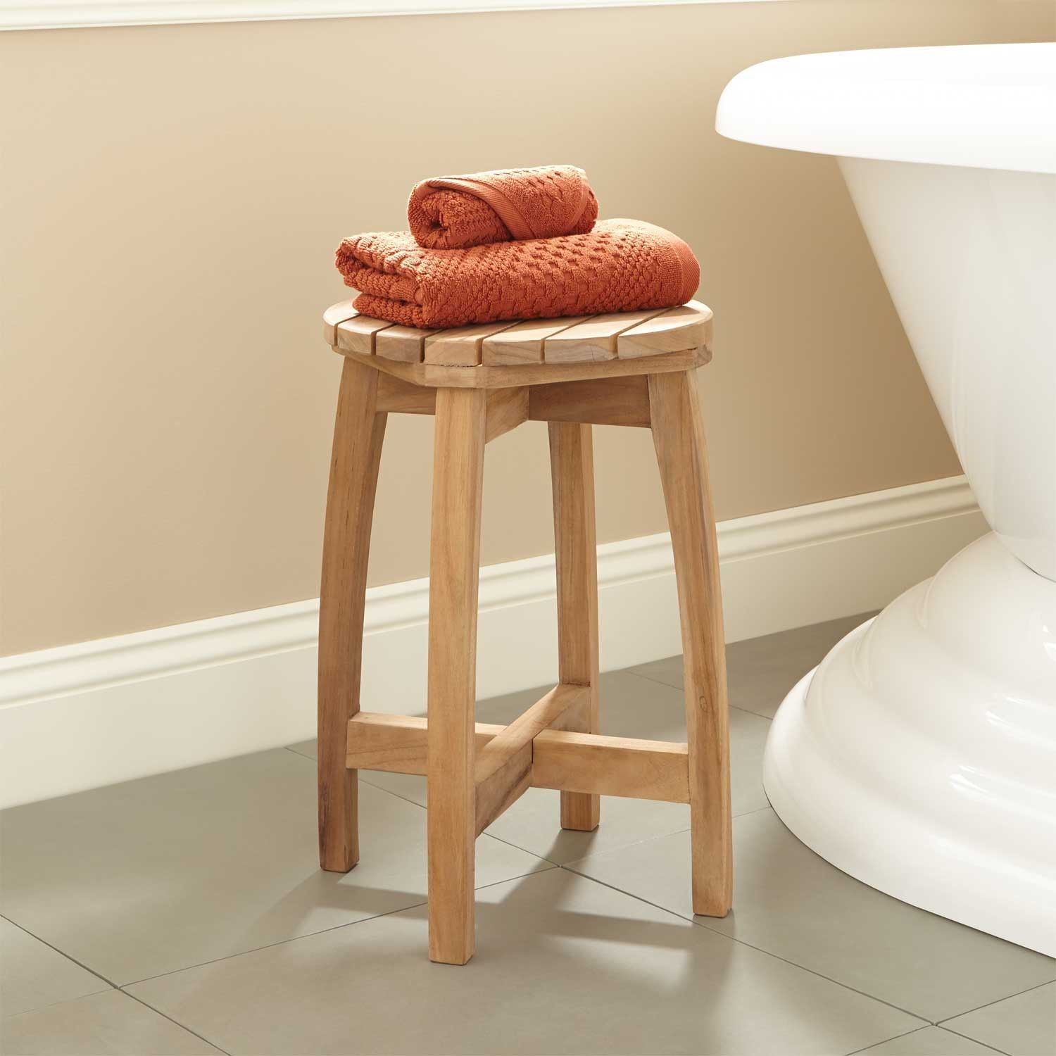 Terrel Round Teak Shower Stool | Teak shower stool, Teak and Stools