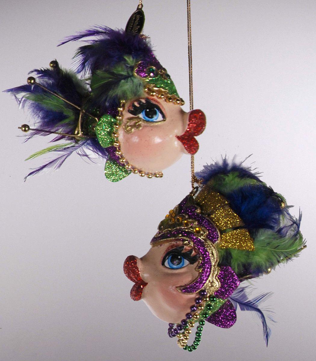 Kissing fish ornament - Katherine S Collection Kissing Fish Christmas Six Assort 4 Mardi Gras Kissing Fish Ornaments