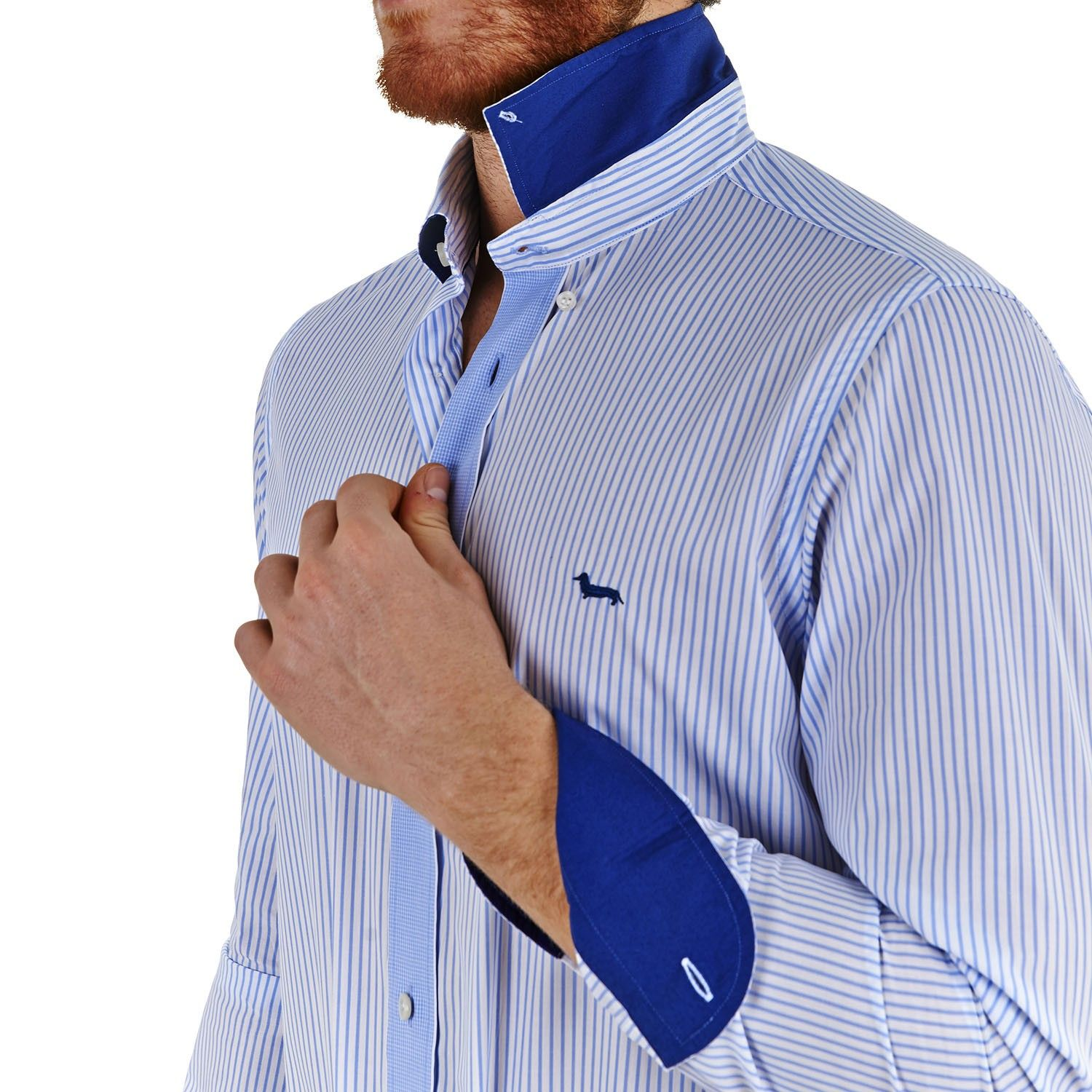 66f8b8ab Striped shirt - Sky-blue/White - Harmont & Blaine Online Store ...