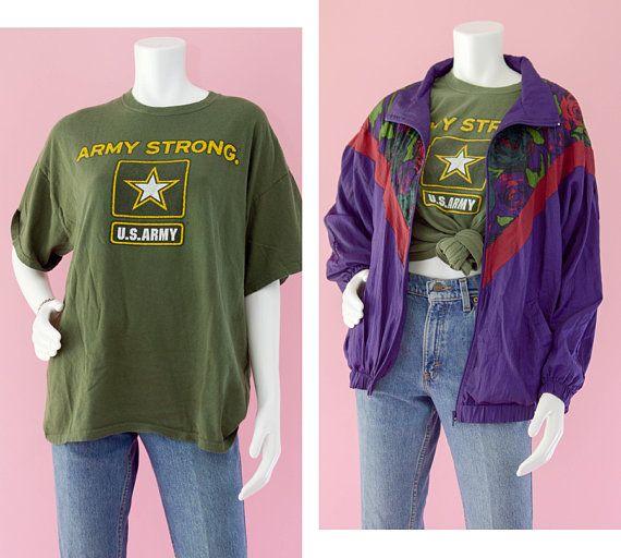 1fb707e5 Vintage 80s Army Strong Green T-shirt, US Army Cotton Short Sleeve T-shirt,  Patriotic Graphic T-shirt, Vintage Military Shirt, Men's XL
