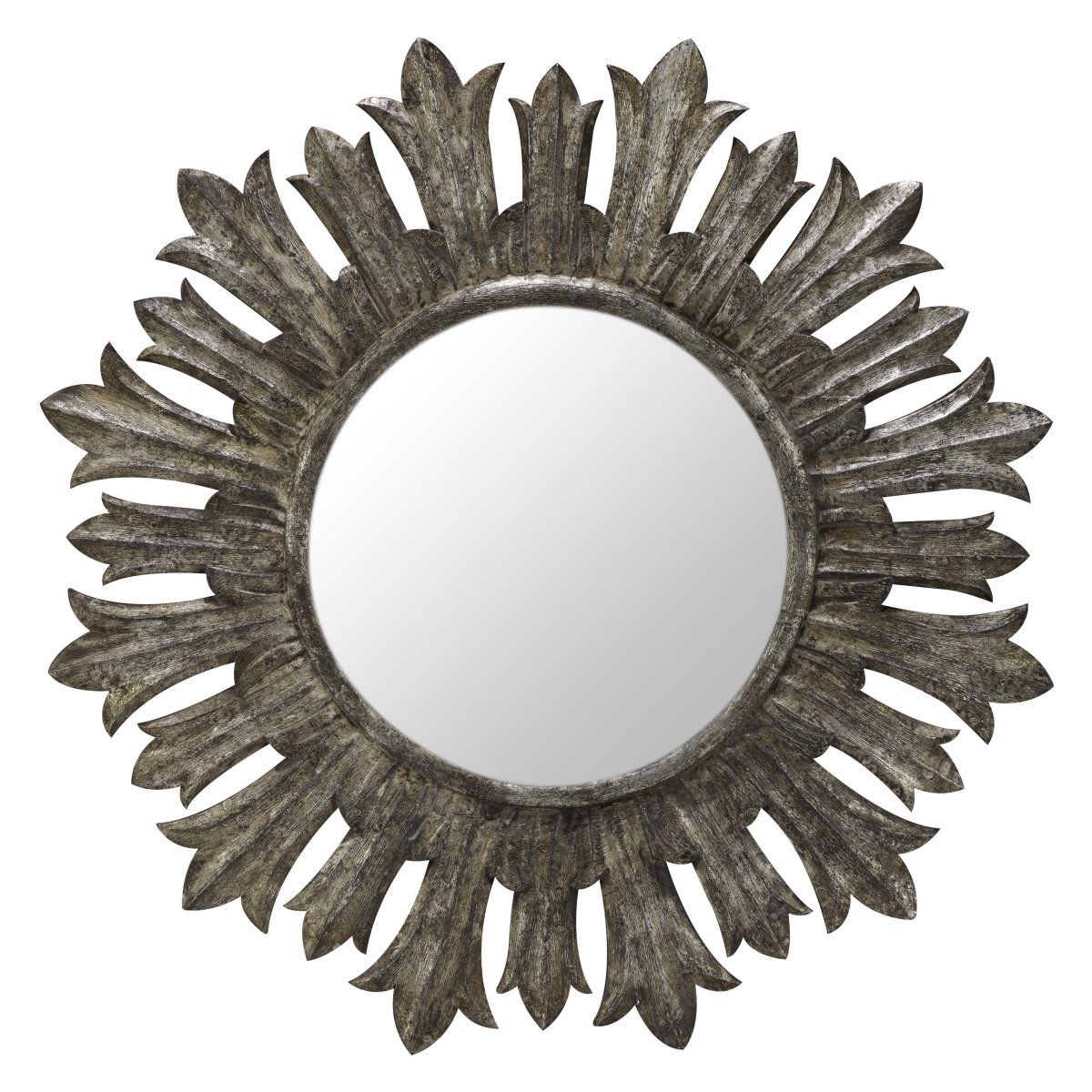 Fairview Silver Crackle Decorative Oversized Mirror - 36 diam.