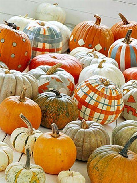Assorted painted pumpkins Halloween Parties Pinterest Pumpkin - halloween decorations on pinterest