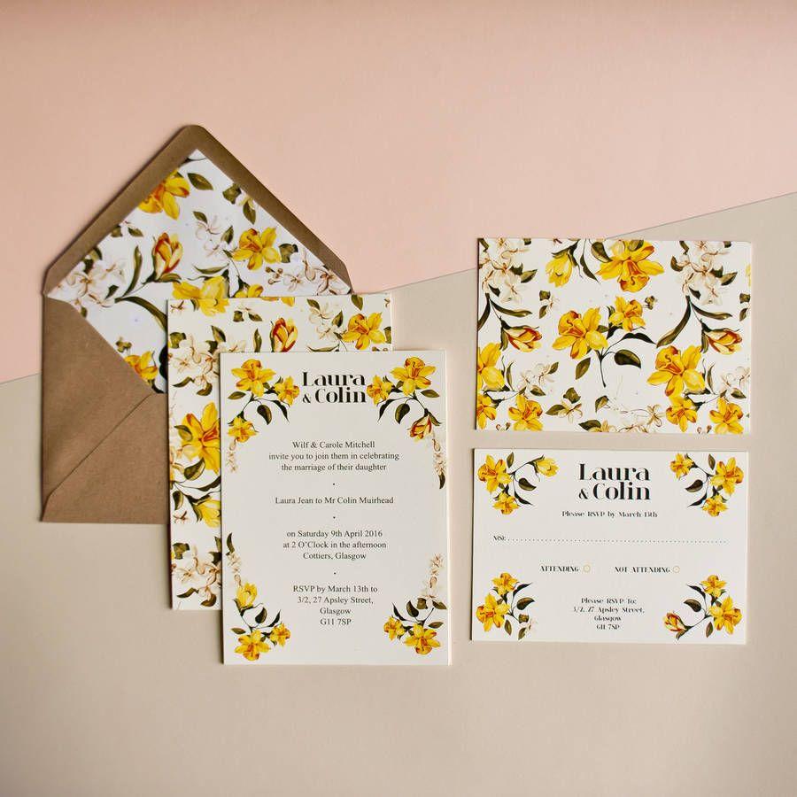 Daffodil Wedding Invitation | Daffodils, Weddings and Wedding