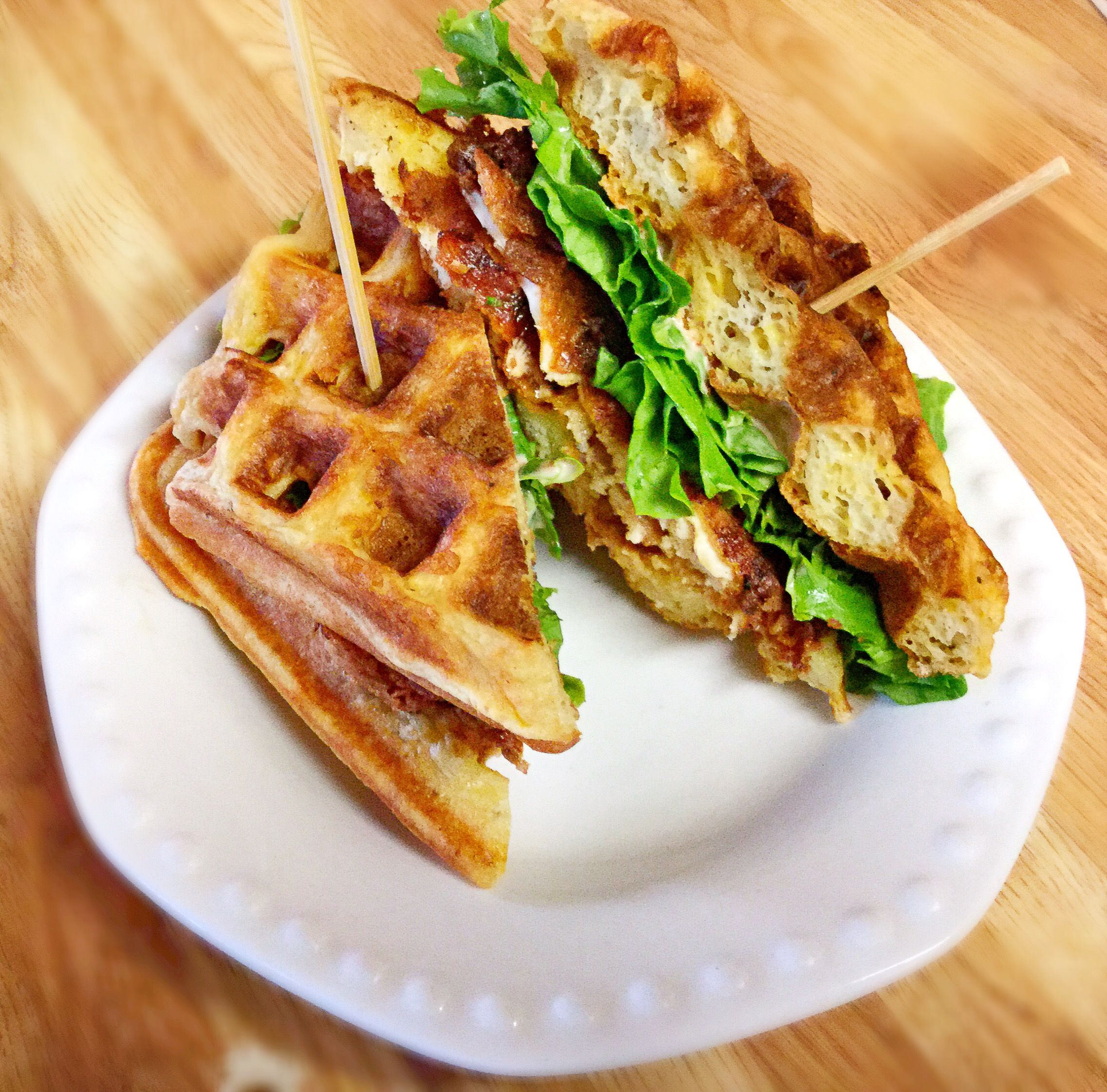 Chicken bacon cheddar wafflewiches with images