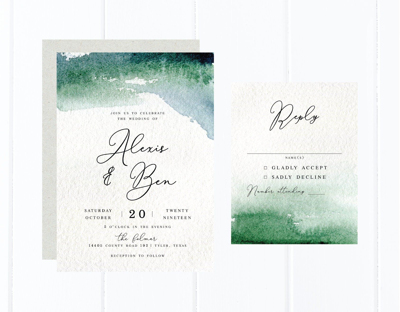 Watercolor Wedding Invitations Green Watercolor Invitation