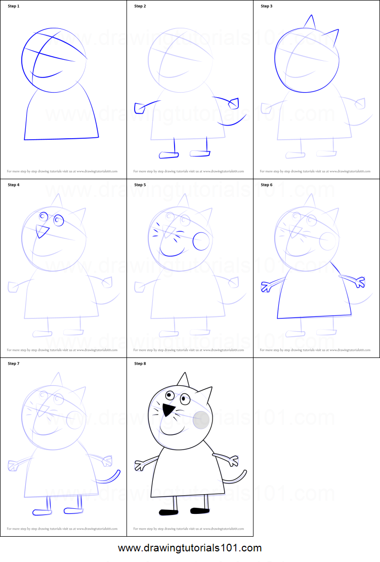 How To Draw Candy Cat From Peppa Pig Printable Drawing Sheet By Drawingtutorials101 Com Drawing Sheet Pig Character Drawings