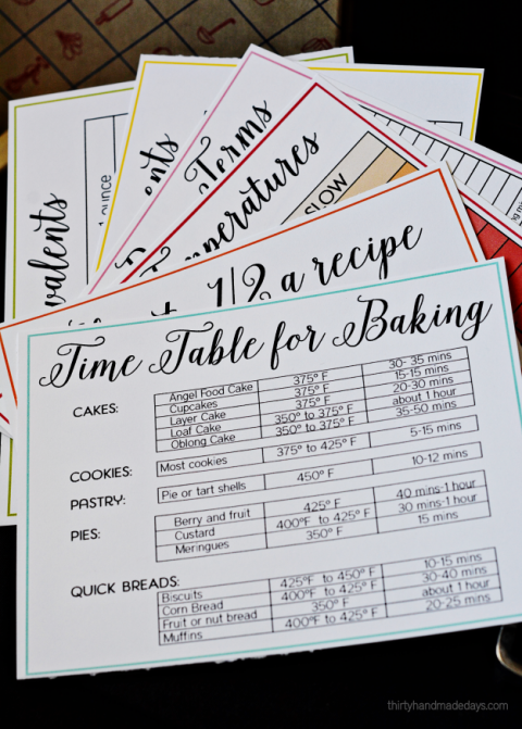 Printable Baking and Cooking Cheats | Light bulbs | Cooking
