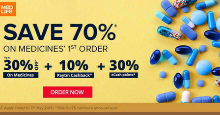 Buy medicines Online from Medlife & Get 70 OFF on your
