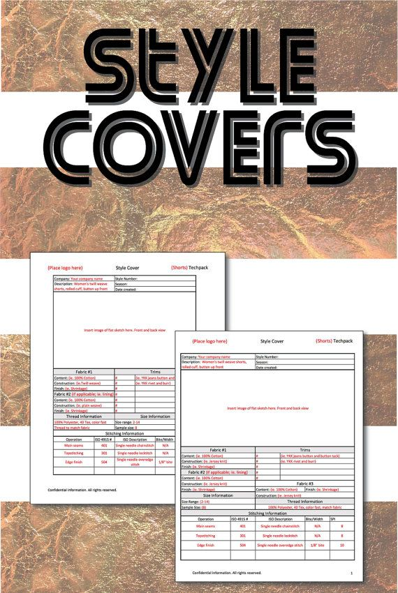 Fashion sketches for Apparel Design; Tech pack fashion Style Cover - spreadsheet templates excel