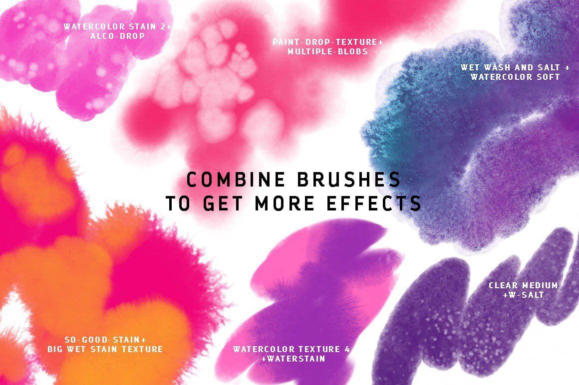 50 Procreate Watercolor Brushes Watercolor Brushes Brush