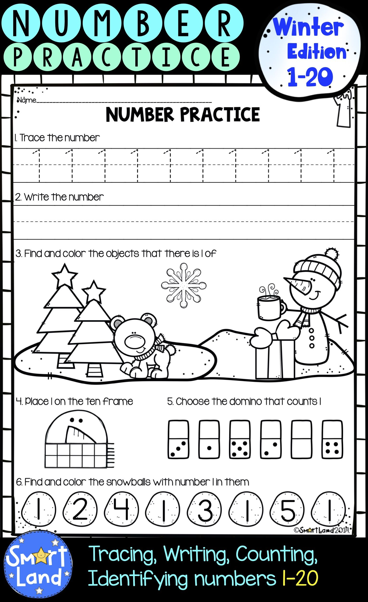 Numbers 1 20 Handwriting And Counting Winter Edition Preschool