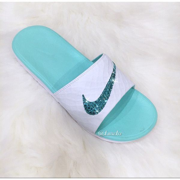 bf9e69de3e3239 Nike Benassi Solarsoft 2 white artisan Teal Slides Flip Flops... ( 85) ❤  liked on Polyvore featuring shoes