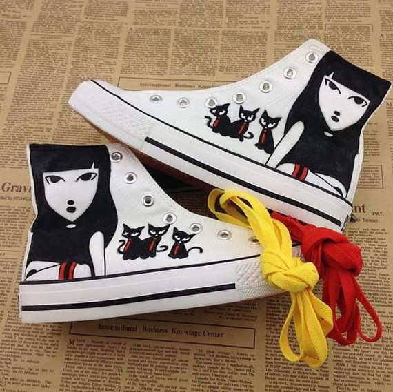 Hand Painted lovers Galaxy Luminous Canvas Shoes,High Top custom flat shoes,Lace Individuality Doodle Hand Drawn shoes,painted sneakers