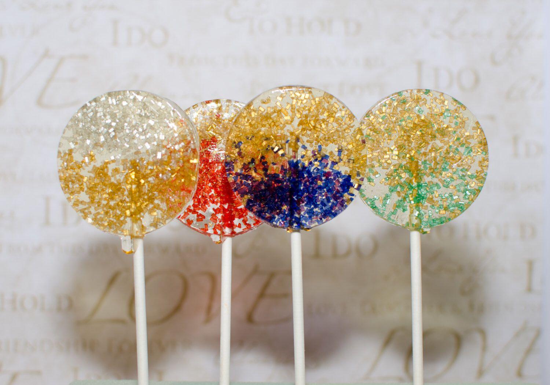 Two-Toned Gold Celebration Lollipops, Hard Candy Lollipops