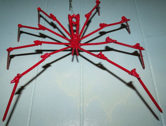 Red Spider Halloween Decoration Made from nails, Creepy and Spokey - spiders for halloween decorations