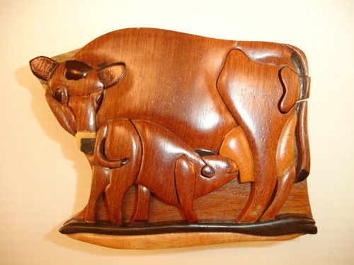 New hand carved wood art intarsia cow baby puzzle