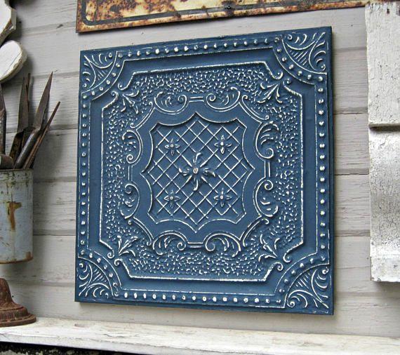 Tin Ceiling Tile, Texas Architectural salvage. Indigo blue, Navy ...