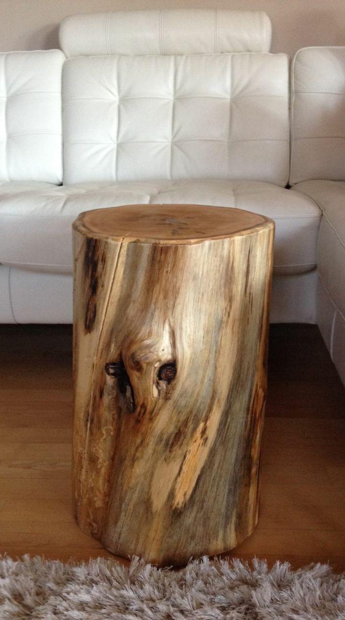 idée originale de table de chevet d\'un rondin de bois | deco ...