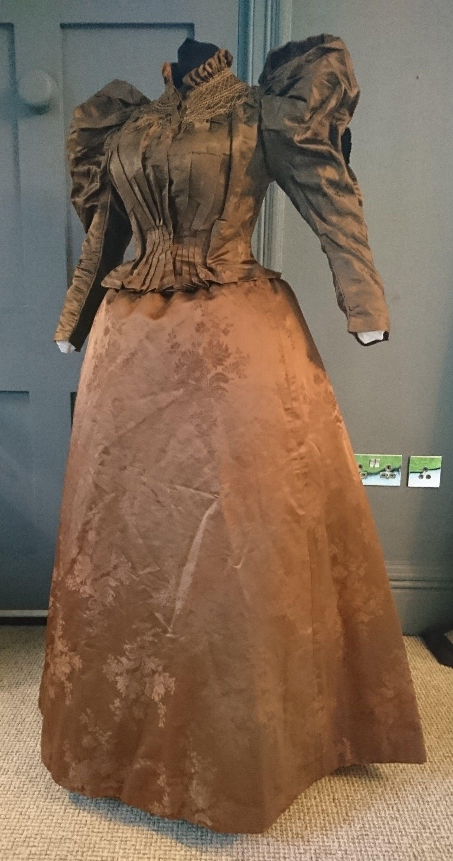1890s Floral Silk Aesthetic Influence Gigot Sleeve Dress ...