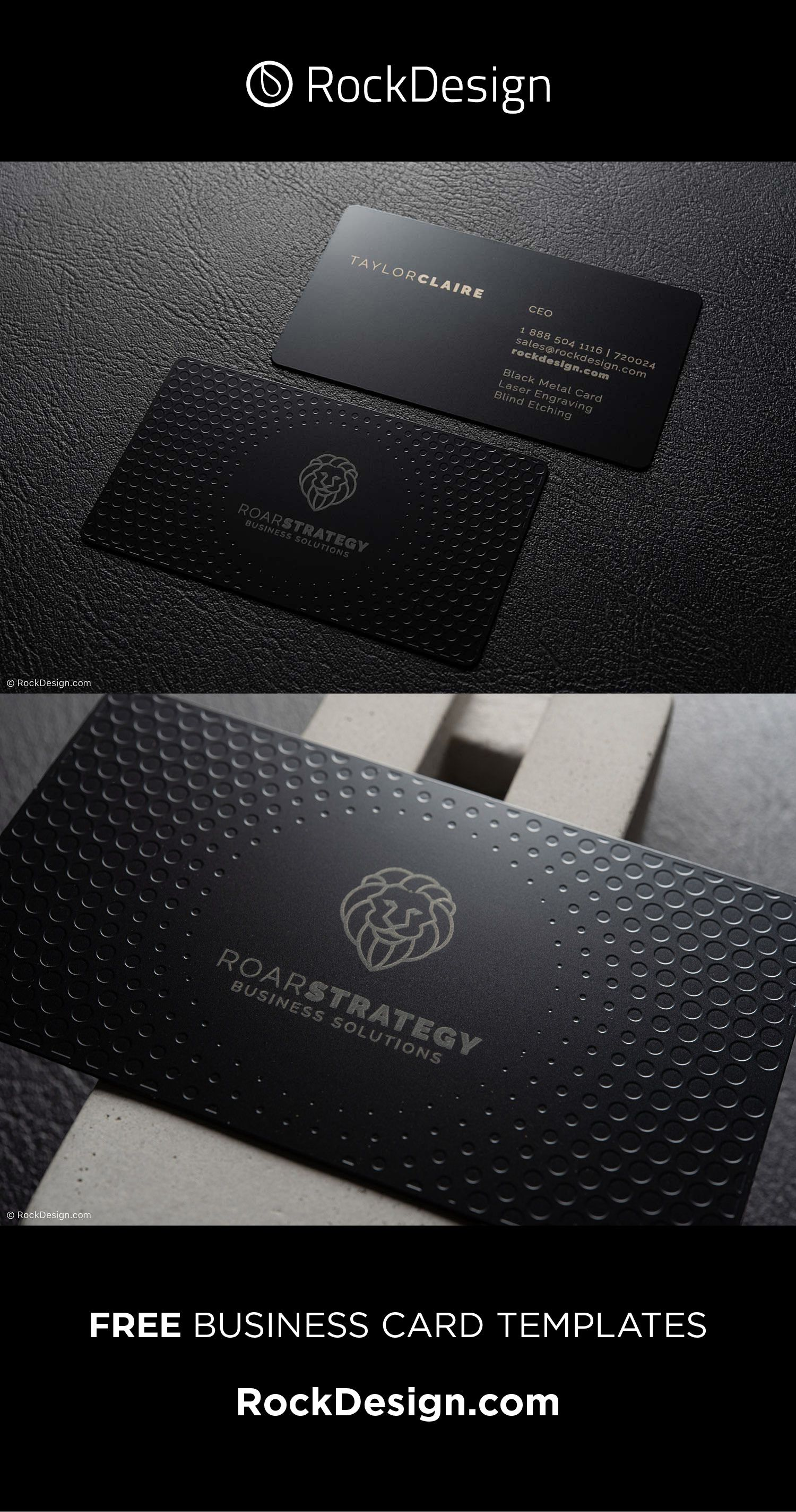 Compelling Laser Engraved Black Metal Business Card Template Design Roar Strategy Metal Business Cards Printing Business Cards Luxury Business Cards