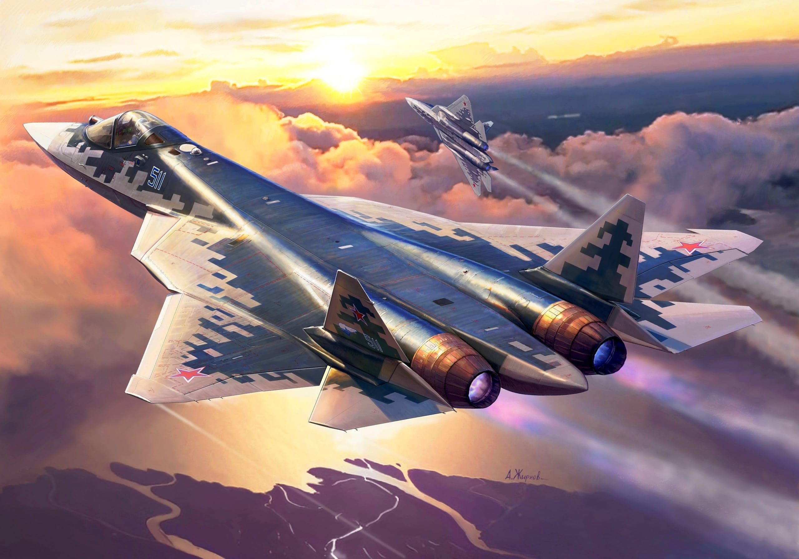 Dawn Pair Flight Russia Videoconferencing Russia The Fifth Generation Fighter Su 57 2k Wallpaper Hdwallpaper Deskt Fighter Jets Fighter Fighter Planes Good aircrafts military hd wallpaper