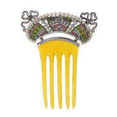 Belle Epoque Plique-à-jour Enamel Diamond Pearl Comb Hairpiece