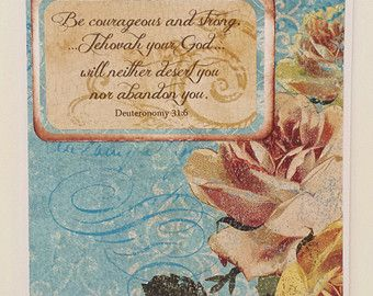 Scriptural SYMPATHY Card- Bible Quote- Greeting Card- NWT- Deuteronomy 31:6- Floral- Roses- Turquoise and Cream - Condolences