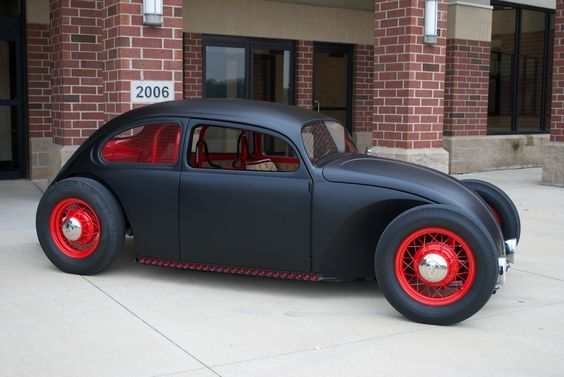 VW Beetle # hot rod # black and red # bad ass ?... X Bros Apparel Vintage Motor T-shirts, Volkswagen Beetle & Bus T-shirts, Great price… ?