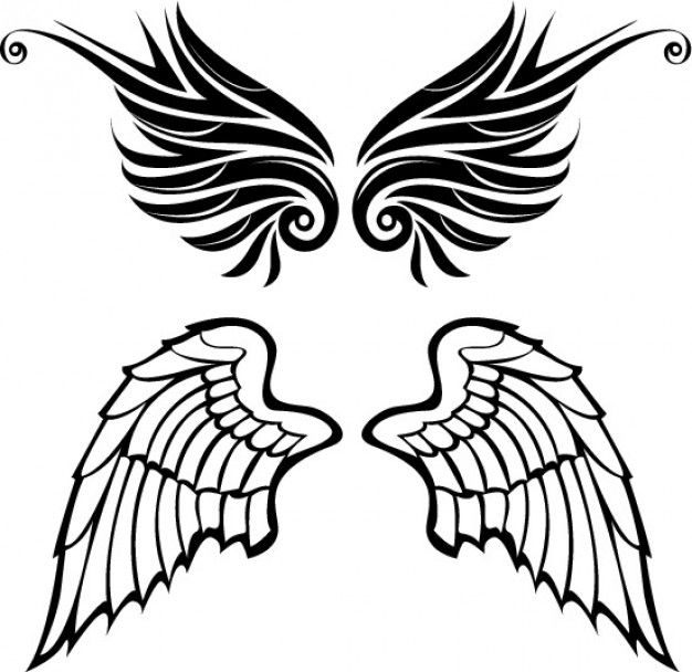 Drawn wings angel and tribal style vector set | Tattoos ...