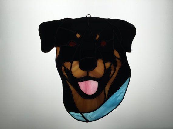 Rottweiler Suncatcher in Stained Glass by robinsglassworld on Etsy