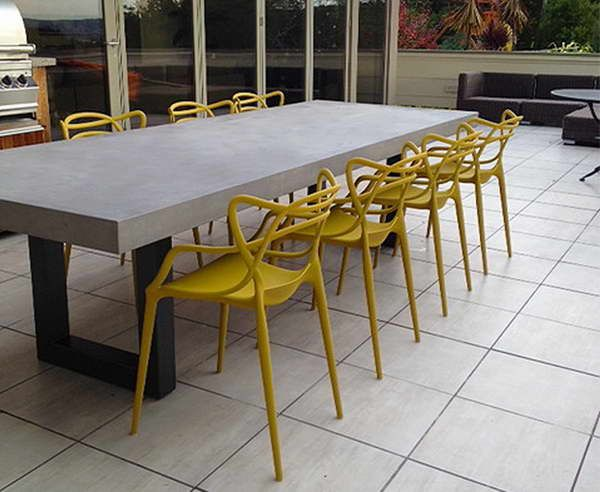 Cement Table Top With Yellow Chairs Ideas Cement Table Top With
