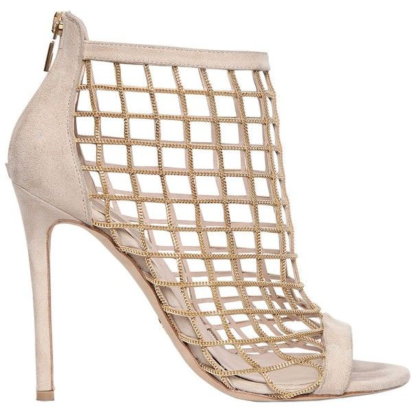 Elie Saab Women 110mm Chain & Suede Cage Sandals ($2,085) ❤ liked on  Polyvore featuring shoes, sandals, nude, nude open toe shoes, chain sandals,  nude high ...