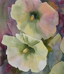 "Hollyhocks 2 by Sandra Beck Watercolor ~ 11"" x 9.5"""