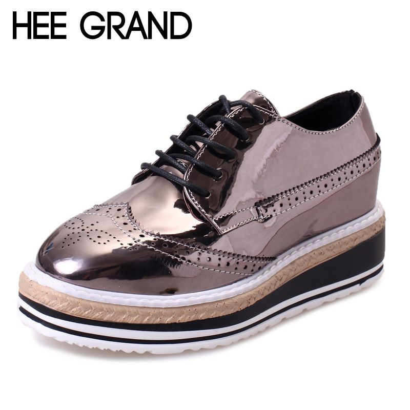 Ladies Brogue Lace Up Round Toe Platform Sneakers Leisure Creepers Sports Shoes