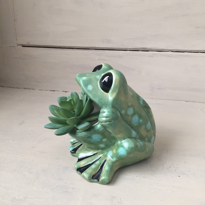 Ceramic Big Mouth Frog Vintage Spotted Green Frog Sponge Etsy Frog Frog House Ceramics