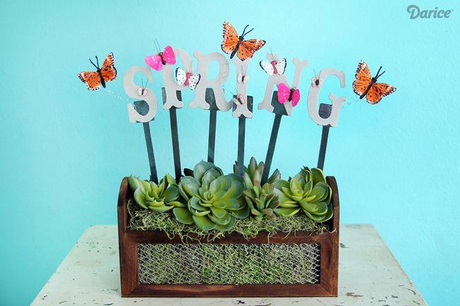 DIY Spring Decor Planter Box with Sticky Sticks