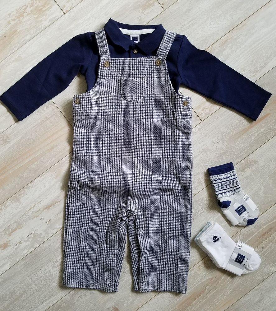 Janie and Jack Baby Boys Plaid Overalls Infant