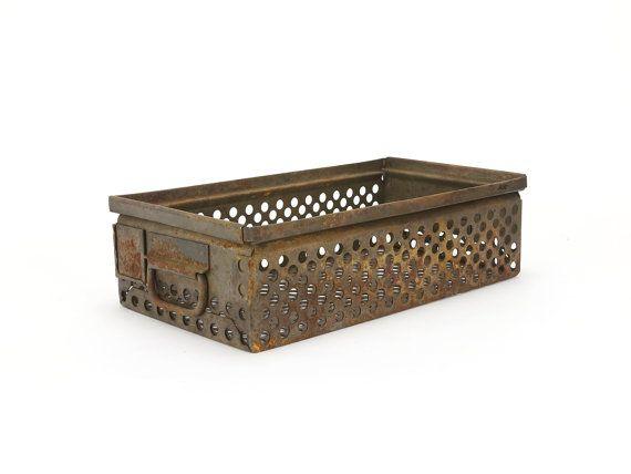 vintage industrial metal perforated bin  no. 1 by lacklusterco