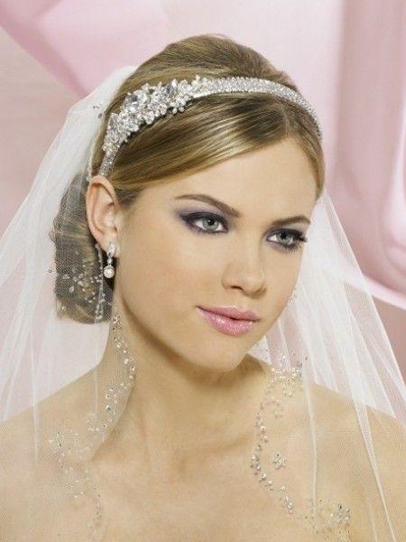 Medium Length Tulle Wedding Veil Rhinestones Beaded And Headband