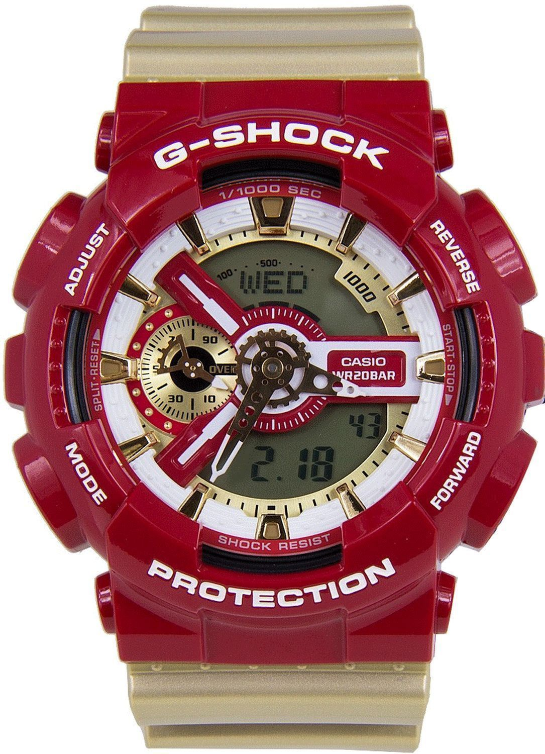 c7616bcfce8f Casio G-Shock Ga-110Cs-4A Ironman Large Face Red Gold Resin Analog ...
