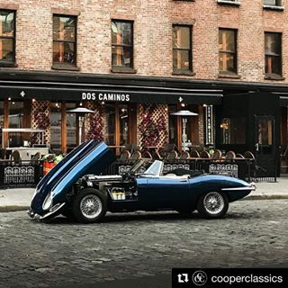 #Repost @cooperclassics ・・・ Dos Caminos has never looked so good. Our stunning 1966 Jaguar XKE. Fully Restored. All Numbers Matching. #jaguar #vintage
