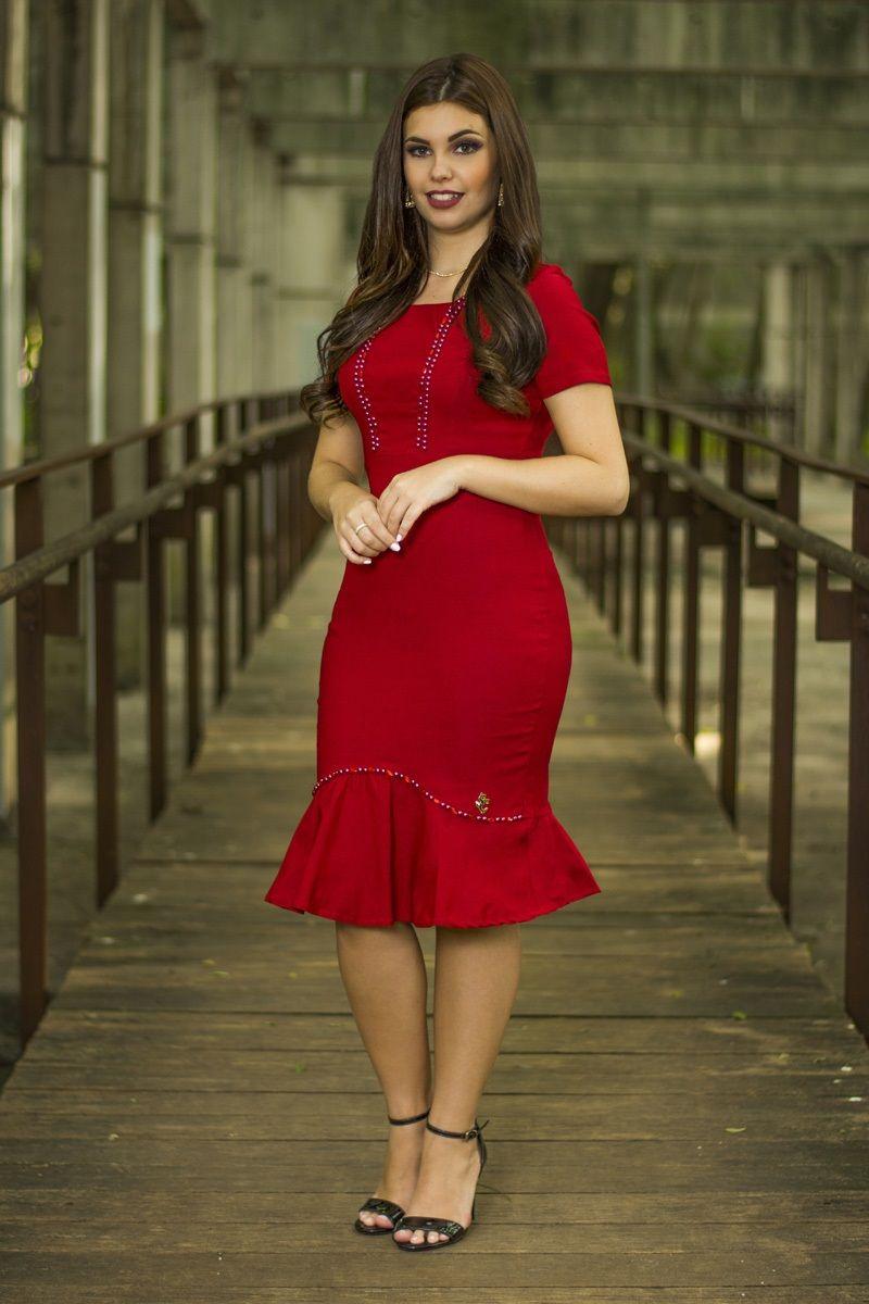 da4ac0bdc Vestido vermelho Karine SC16 Vestido Listrado, Vestido Vermelho, Vestido  Tubinho, Vestido Curto,