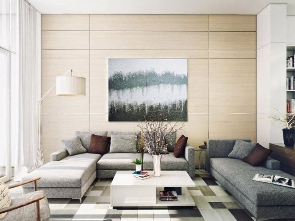 Living Room: Modern Living Room With Lake Wall Art Décor Behind Grey ...